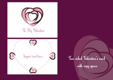 Valentines card. Two sided valentine's card with copy space Stock Image