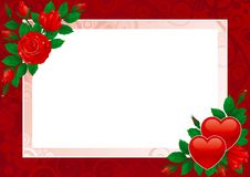Valentines card. Vector Hearts and pink roses on ornate background Stock Images