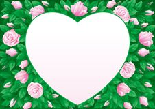Valentines card. Vector Border  in heart shape on background with  many pink roses and leaves Stock Images