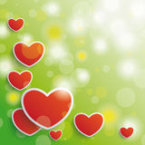 Valentines Card Background Red Hearts Stock Images