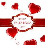 Valentines card with balloons Royalty Free Stock Photo