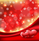 Valentines card with beautiful hearts Royalty Free Stock Images