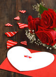 Valentines card and bouquet of roses Royalty Free Stock Image