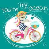 Valentines card with cat on bike and fish about love. Vector illustration Stock Photo