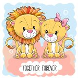 Cute Cartoon Lions boy and girl. Valentines card with Cute Cartoon Lions boy and girl royalty free illustration
