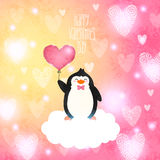 Valentines card with cute cartoon penguine Stock Image