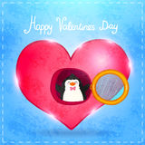 Valentines card with cute cartoon penguine Royalty Free Stock Images