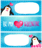 Valentines card with cute cartoon penguine Stock Images
