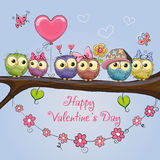 Valentines card with cute Owls