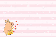 Valentines card  with a Cute Pig. illustration Royalty Free Stock Photography