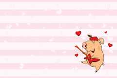 Valentines card  with a Cute Pig. illustration Stock Images