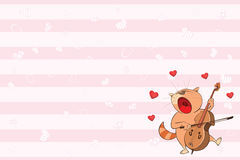 Valentines card with a Cute Tabby Cat illustration Royalty Free Stock Images