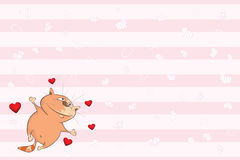 Valentines card with a Cute Tabby Cat illustration Stock Photos