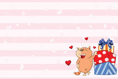 Valentines card  with a Cute Tabby Cat illustration Royalty Free Stock Photos
