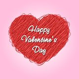 Valentines card. Vector illustration. Valentines card with doodle heart Stock Image