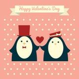Valentines card elegant penguins Stock Photo