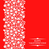 Valentines card with floral elements and hearts on red backgroun Royalty Free Stock Images