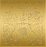 Valentines card gold plaque Royalty Free Stock Images