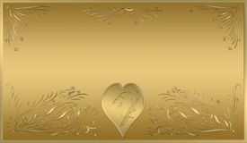 Valentines card gold plaque Royalty Free Stock Image