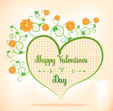 Valentines card with green, orange heart Stock Photo