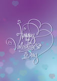 Valentines Card - Happy Valentines Day - Purple Blue Royalty Free Stock Image