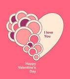 Valentines  Card with Heart circles Stock Photo