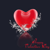 Valentines card with heart and flowers . Royalty Free Stock Image