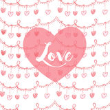 Valentines card with heart and lovw text in pink. Vector Royalty Free Stock Photography