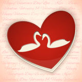 Valentines Card Heart with Swans Royalty Free Stock Photography