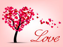 Valentines card with heart tree Stock Photo