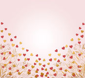 Valentines card with hearts. Beautiful pink and gold floral heart background Vector Illustration