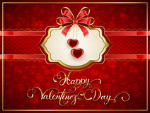 Valentines card with hearts and bow on red background. Valentines card with two glittering hearts and bow on red background, holiday lettering Happy Valentines Stock Image