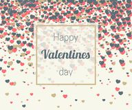 Valentines card with hearts confetti Stock Images