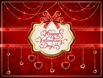 Valentines card with hearts and red bow. Valentines card with golden hearts and red bow. Lettering Happy Valentines Day on holiday background, illustration Stock Image