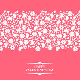 Valentines card with horizontal floral ornament Stock Photography