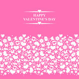 Valentines card with horizontal valentines ornament on pink back Stock Photos