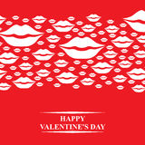Valentines card with kisses horizontal ornament Stock Images