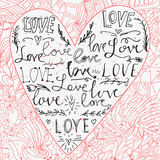 Valentines card with line heart and love phrase. Doodles backdrop. Vector illustration. Royalty Free Stock Image