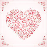 Valentines card with ornate Heart and frame Stock Images