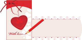 Valentines card with pencil. Decorative banner Royalty Free Stock Photography
