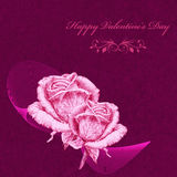 Valentines card with pink roses over purple background. Pencil drawing Royalty Free Stock Photography