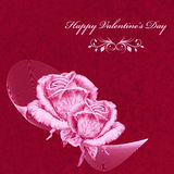 Valentines card with pink roses over red textured background. Pencil drawing Royalty Free Stock Photography