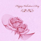 Valentines card with pink roses over textured lavender background. Pencil drawing Stock Photography