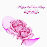 Valentines card with pink roses over white background. Pencil drawing Royalty Free Stock Photography