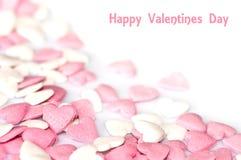 Valentines card, pink sugar hearts Royalty Free Stock Photo