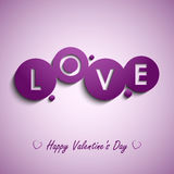 Valentines card with purple circles background Royalty Free Stock Image