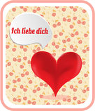 Valentines card with red heart, text Ich liebe Royalty Free Stock Photography