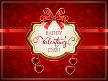 Valentines card with red hearts and bow Royalty Free Stock Photo
