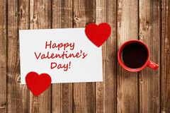 Valentines card with red hearts and coffee cup Royalty Free Stock Photos