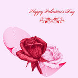 Valentines card with red and pink roses over pink background. Pencil drawing Royalty Free Stock Images